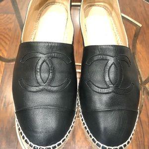 Chanel Authentic Black Leather Espadrilles Size 42